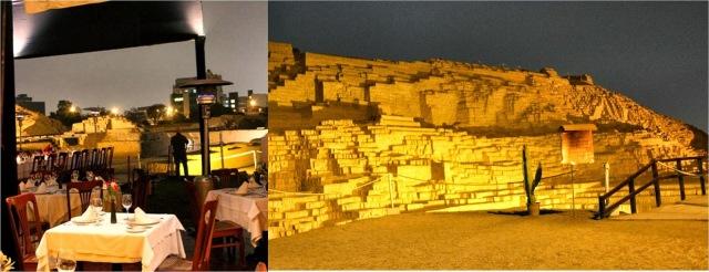 O restaurante e as ruínas Huaca Pucllana