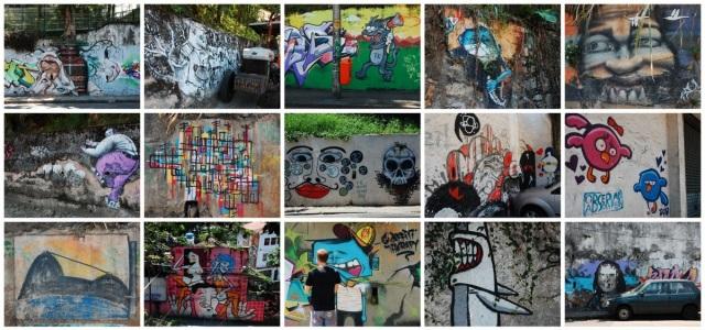 Painéis variados em Santa Tereza. Grafite Rio.