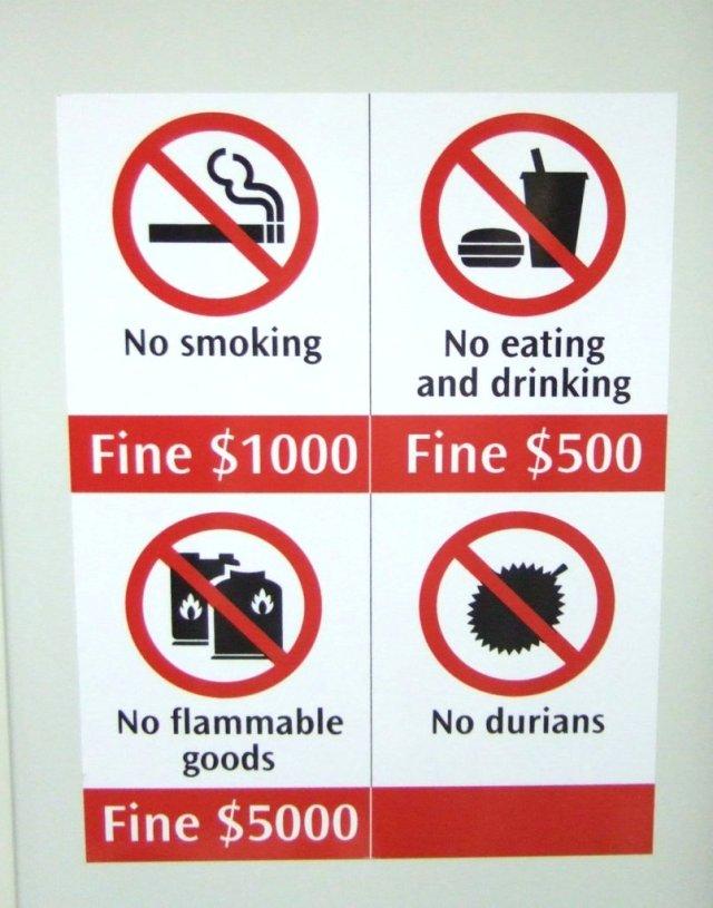 Multas para quem levar durians no metrô