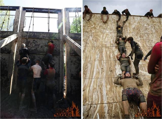 Atletas tentando passar obstáculos de subida na Tough Mudder