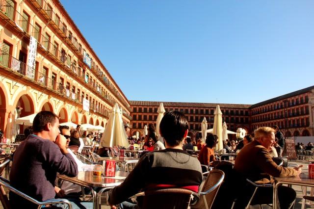 Mesinhas na Plaza de la Corredera