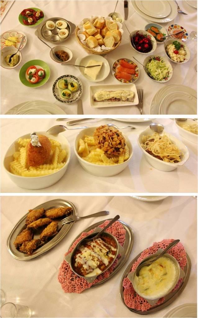 Alguns dos pratos no banquete do Restaurante Dona Irene