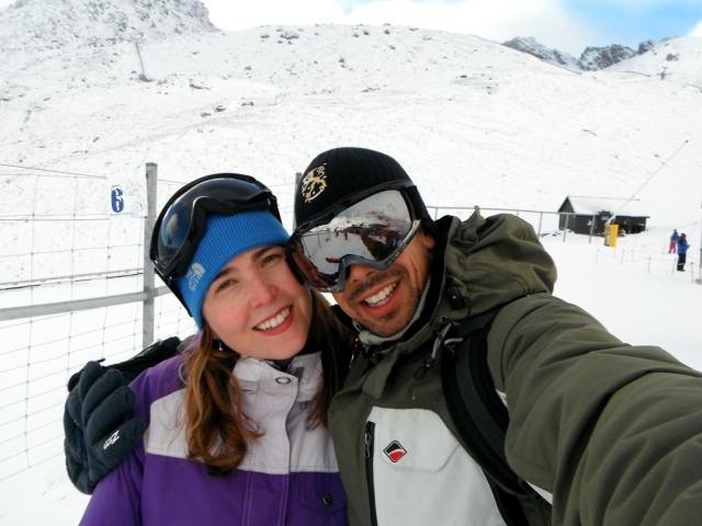 Esquiando em Queenstown (montanha Remarkables)