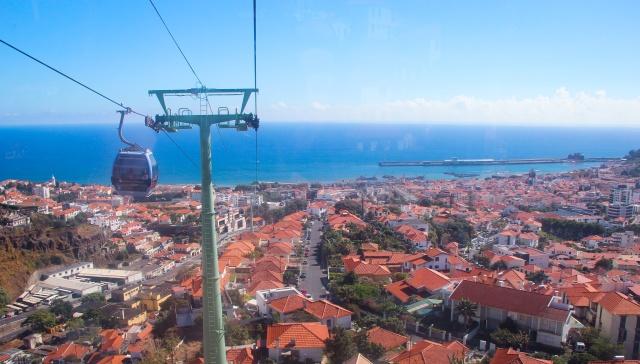 No teleférico de Madeira