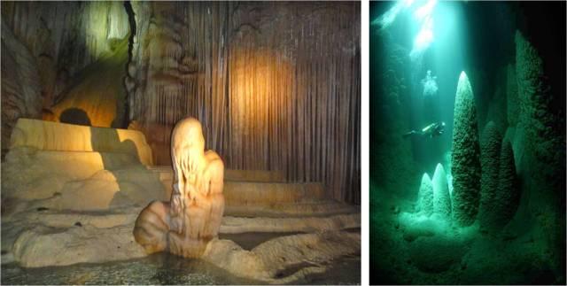 """Dir.: mergulhando no abismo (foto: brasilmergulho.com.br). Esq.: Estalagmite conhecida como """"guardião"""""""