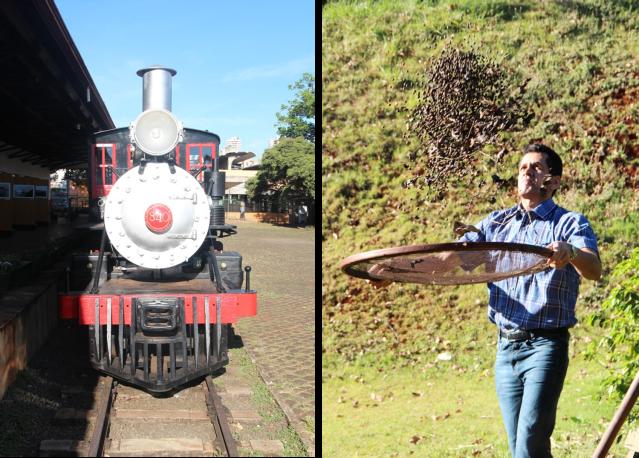 Locomotiva do Museu História de Londrina e nosso guia ensinando a peneirar café!