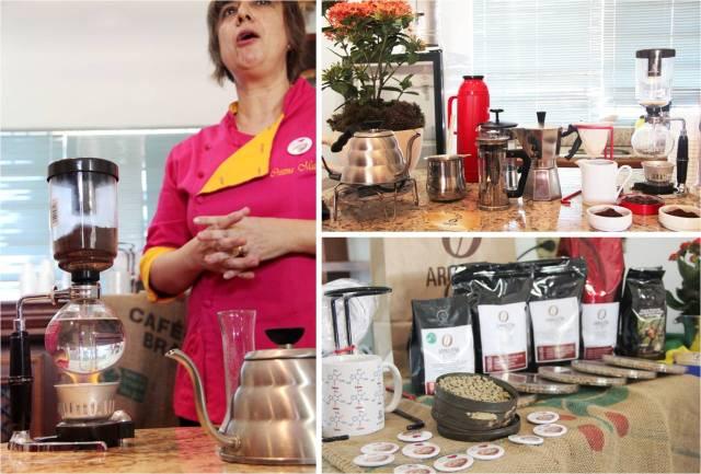 À esquerda: Cristina passando café no sifão. Em cima: técnicas para o café. Em baixo: tipos de grãos/cafés