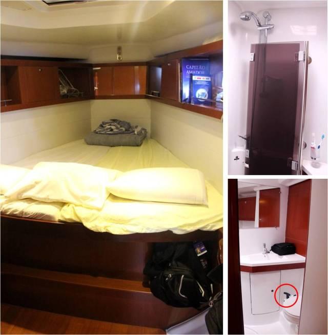 """O veleiro tem 3 quartos, esse era a suíte. Em cima, chuveiro com box retrátil (você retira e prende para tomar banho). Embaixo no círculo: descarga manual na privada (funciona em sistema de """"bombeamento"""")"""