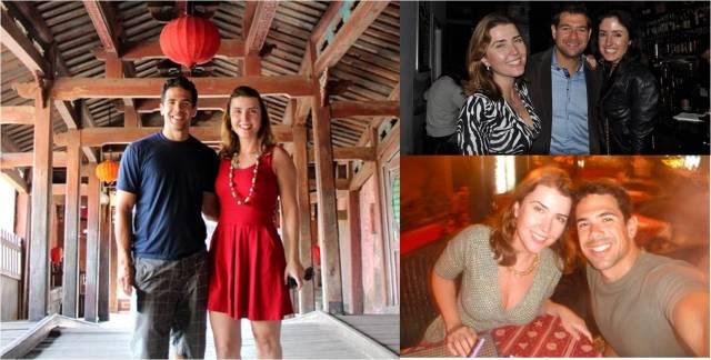Os vestidos que levei: o vermelho e, do lado direito, dois tipo envelope.