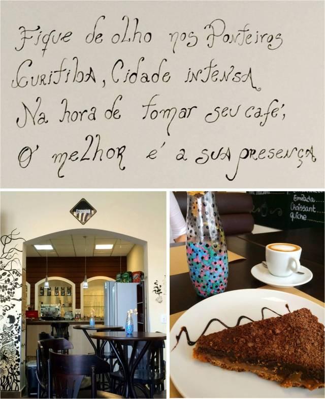 Em cima, frase na parede. Foto à esq.: ambiente do Catedral. Foto à dir.: a torta de caramelo com chocolate