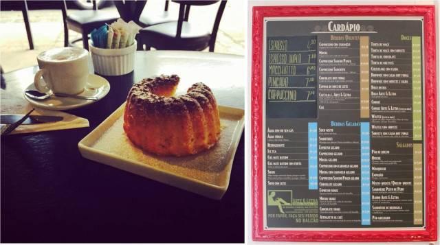 Café Arte & Letra: delicioso bolo de laranja e cardápio pendurado na porta
