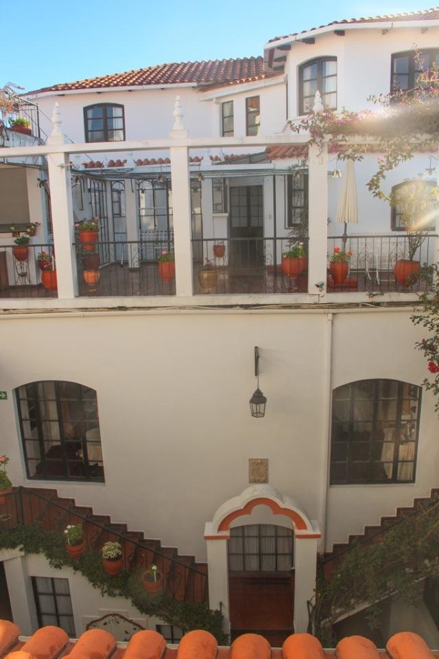 Olha que fofo o nosso hotel em Sucre!
