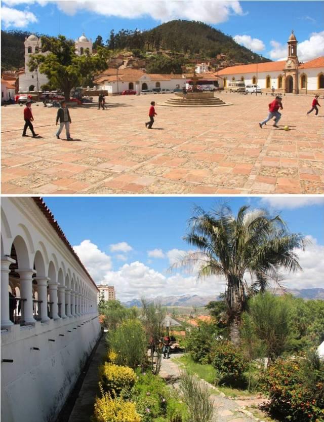 Foto superior: meninos na praça do Monastério de La Recoleta. Inferior: Café Mirador onde dá para ver a cidade