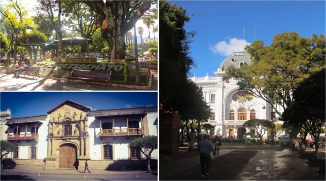 Lado esq. superior: Praça 25 de mayo. Esq. inferior: casarão. Lado dir.: Palácio do Governo