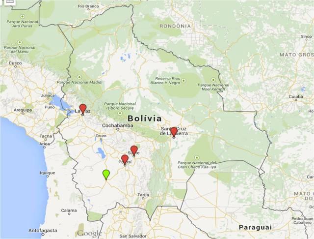 Mapa para entender melhor as rotas bolivianas até Uyuni