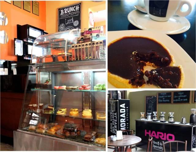 Sobremesas e métodos de preparo de café no Lucca em Curitiba