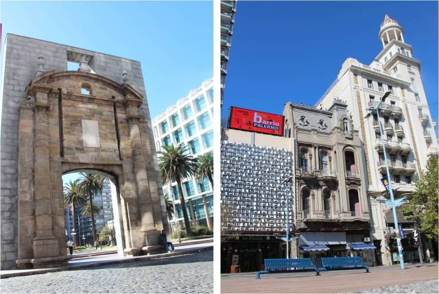 À esq., entrada histórica da Cidade Antiga. À dir., prédios interessantes da cidade.