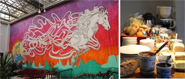 Caballo Loco: mural da sala e café da manhã