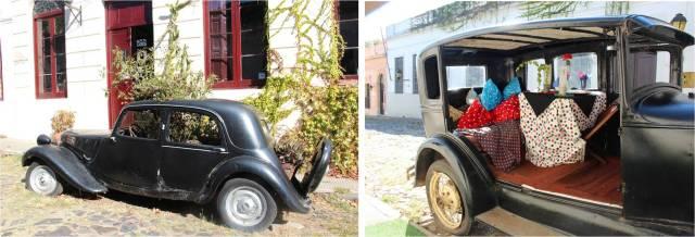 Instalação com carros antigos perto do Restaurante Drugstore: jardineira e mesa para jantar