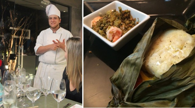 O Chef Guile explicando os pratos. Lado esquerdo, o delicioso bacalhau!