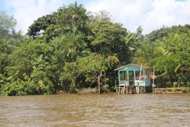 Paisagens diferentes do outro lado do rio Guajará