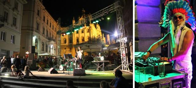 Festival de música de Liubliana: de bandas clássica, até DJ de música eletrônica vestido de índio.