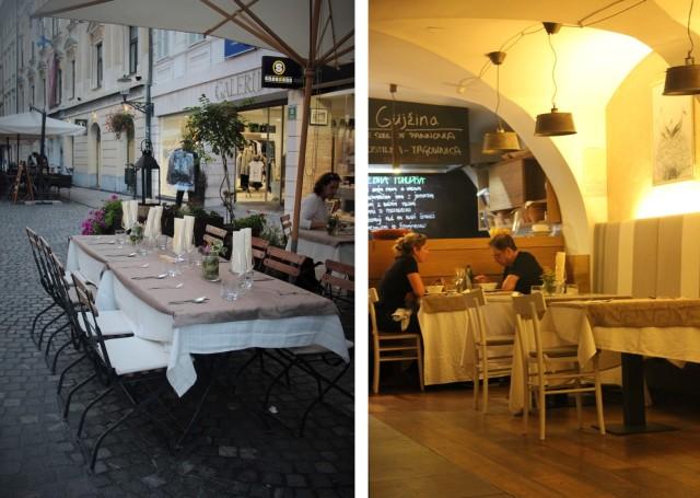 Ambientes externo e interno do charmoso Restaurante Güjzina em Liubliana