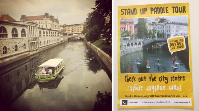 Opções para conhecer os canais de Liubliana: de barco ou de stand up!