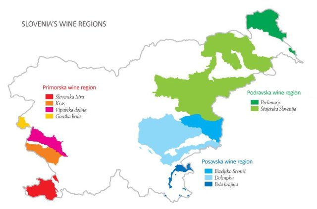 Slovenia Wine Region Map - A